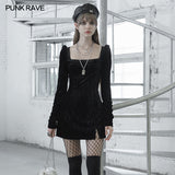 Textured velvet square collar package hip dress