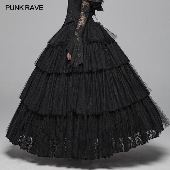 Dark Gothic Long Lace Tiered Skirt Ball Gown Dress Punkravestore
