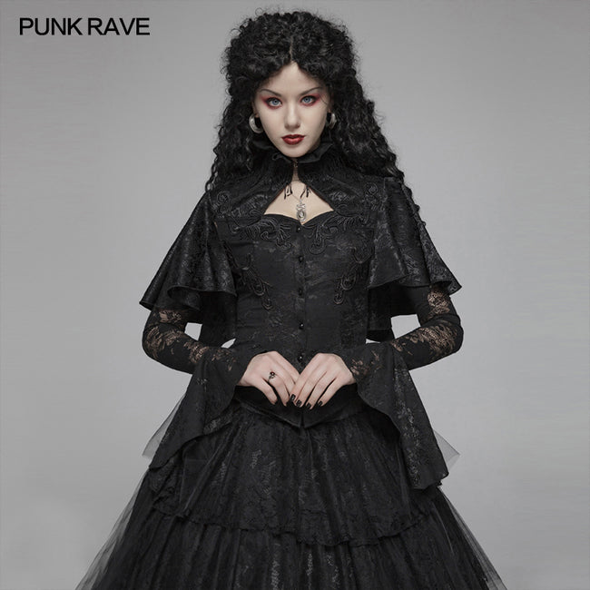 Gothic High Collar Long Sleeve Shawl Lace Shirt