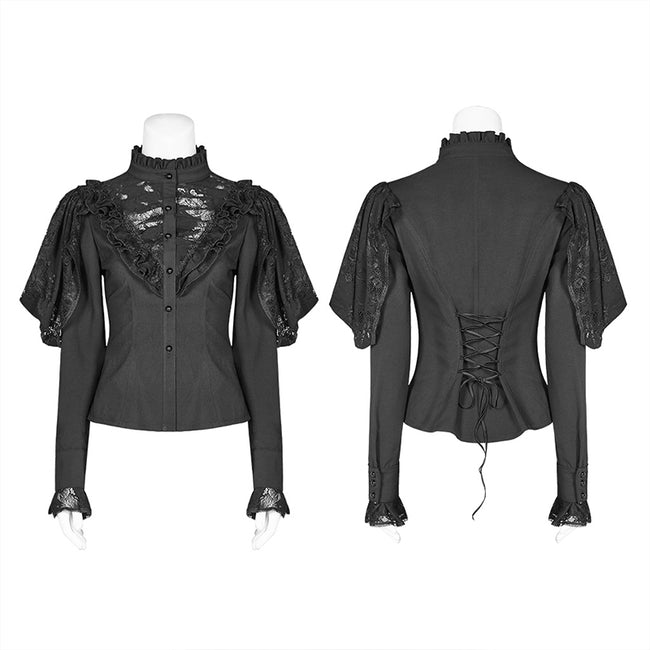 Gothic Long Shirt With Irregular Hollow-out Lace Design For Women