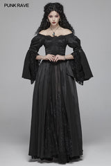 Victorian Gothic Off The Shoulder Long Sleeve Lace-up Dresses
