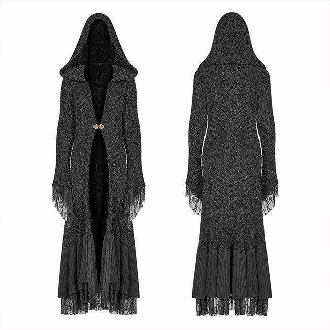 Gothic Woolen Cardigan Hooded Long Sleeve Coat - Thick