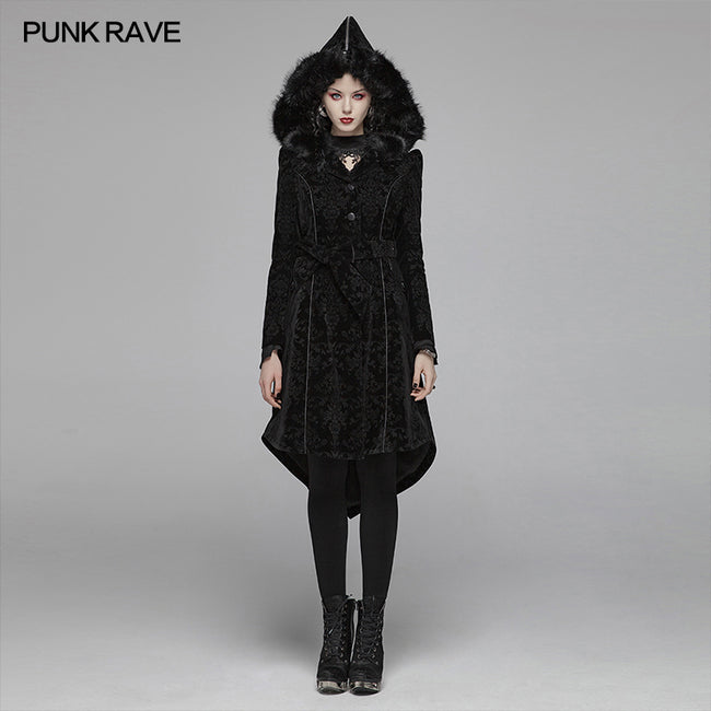 Gothic Pattern Medium Long Coat With Pointed Hat For Women