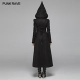 Gothic Long Woolen Coat With Pointed Hooded For Women