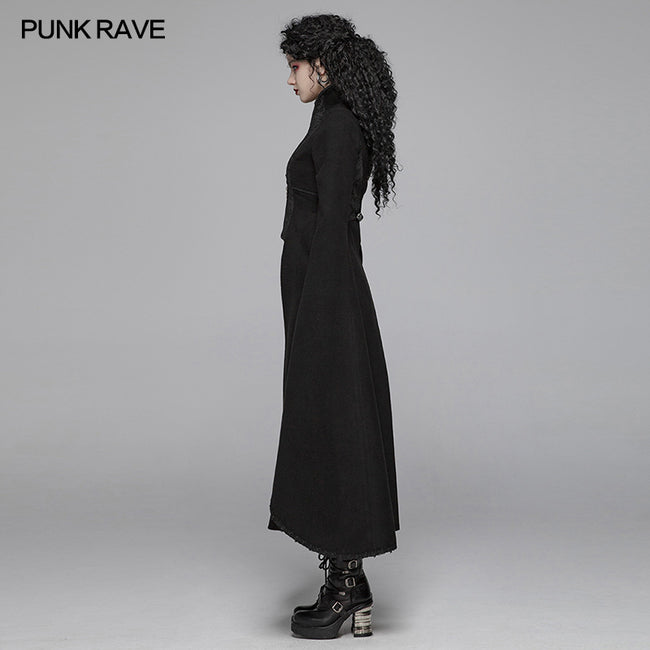 Gothic Double-sided Woolen Standing Collar Long Coat With Broken Block-style Sleeves For Women
