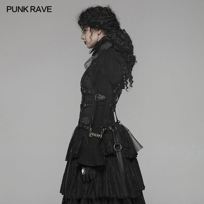 Steampunk Standing Collar Long Sleeve Cross Short Coat