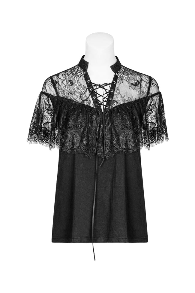 Gothic Exquisite Corns Tied Rope Lotus Leaf Lace Shirt For Women