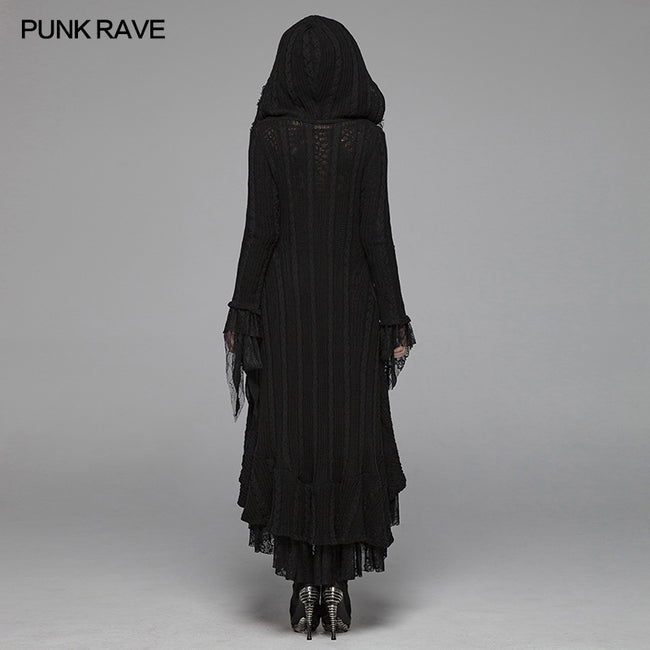 Gothic Woolen Cardigan Hooded Long Sleeve Coat - Thin