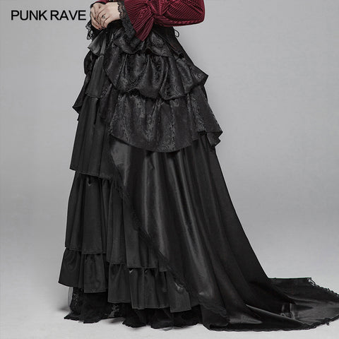 Gothic Women Palace Floor-length Split Skirt