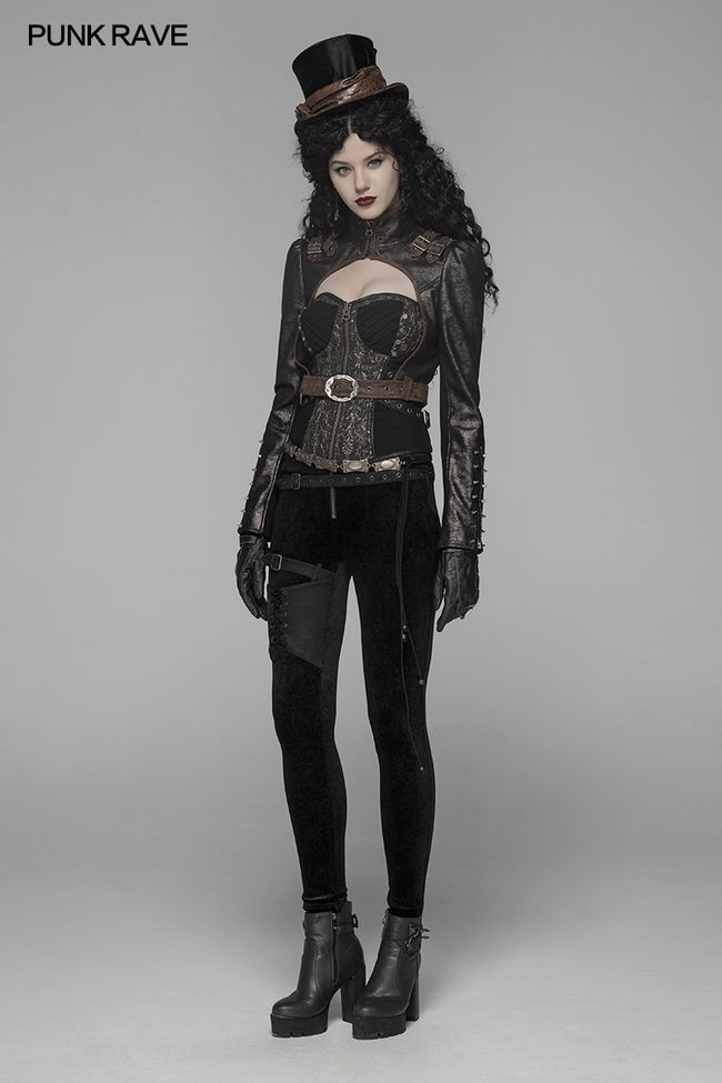Steam Punk Long Sleeve PU Leather Short Jacket