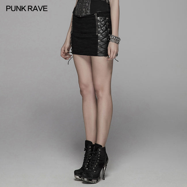 Punk Metal Mini Half Skirt With Two Sides Lace-up Design