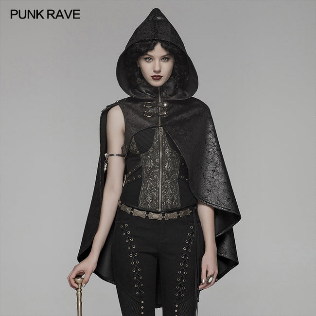 Steam Punk Leather PU Hooded Short Cloak With Lace-up Back