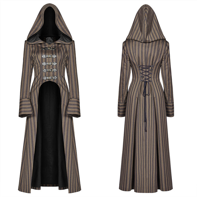 Steam Punk Hooded Striped High-low Long Coat