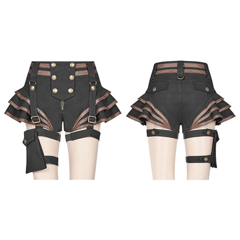 Steampunk Short Jean lolita Pant With Adjustable Removable Belt