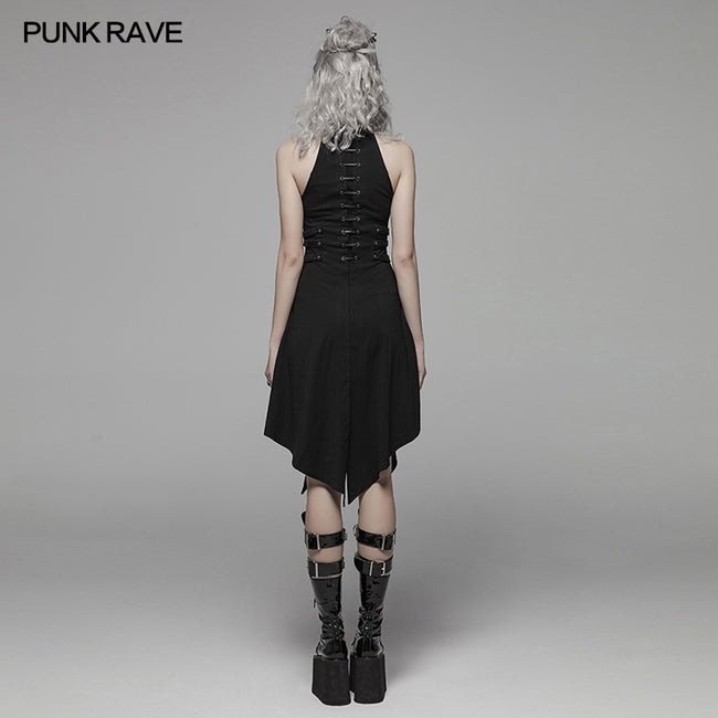 Dark Punk Halter Neck Short Dress