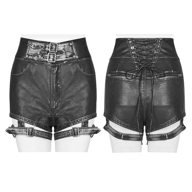 Handsome Punk PU Leather Shorts Pant