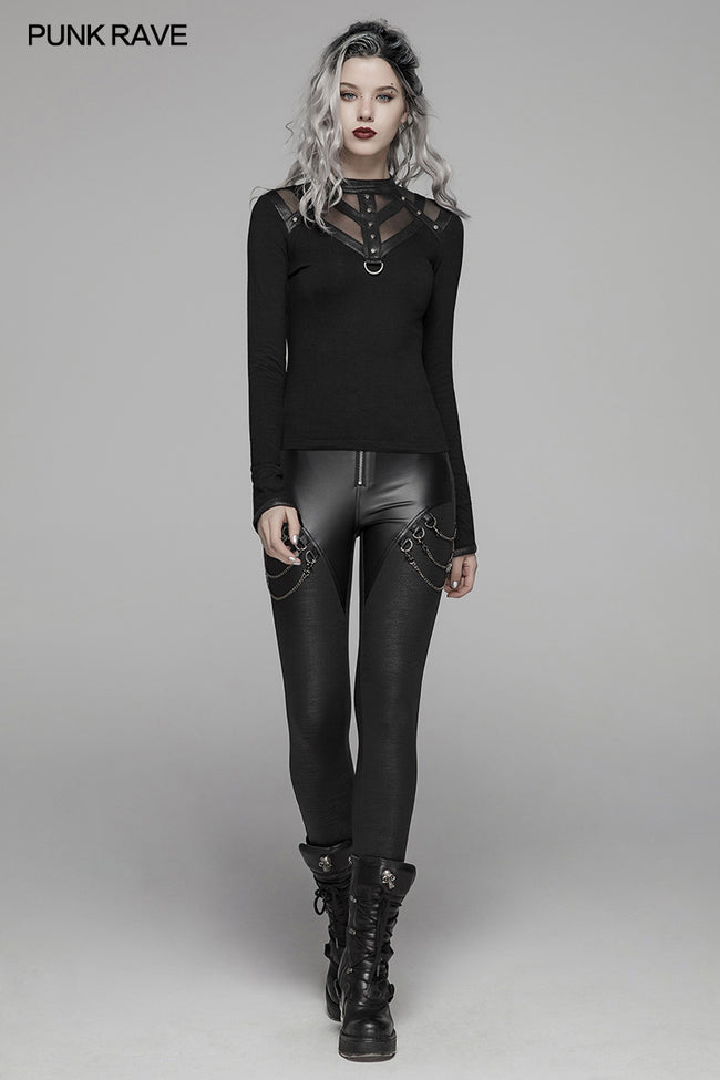 PUNK Women PU Leather Leggings Crack Velvet Tight Pants With Detachable Metal Chain