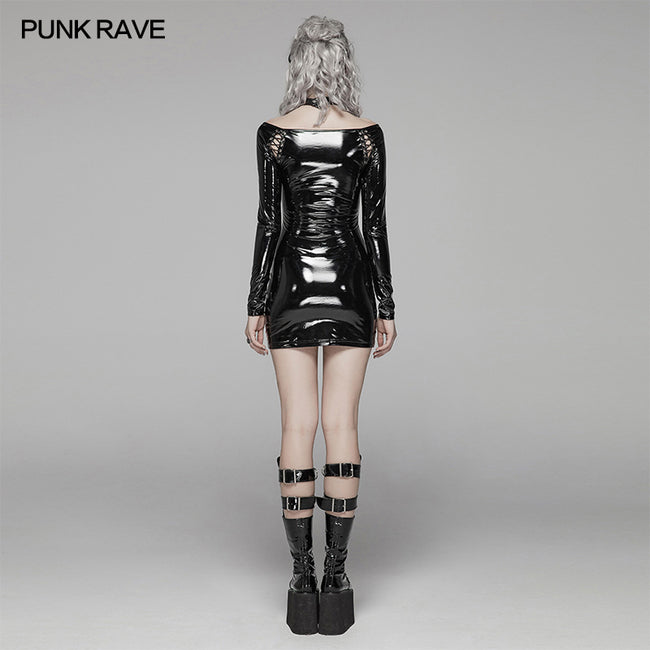 Punk Bright PU Over Hip Dress