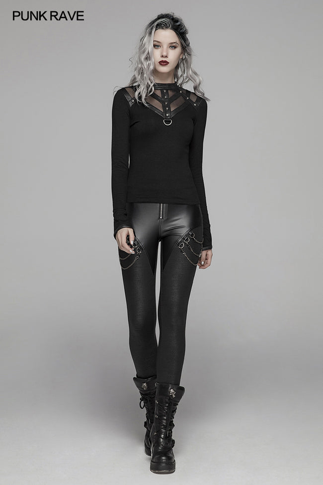 Steampunk Hollow-out Collar T-shirt With Flared Slit Sleeve
