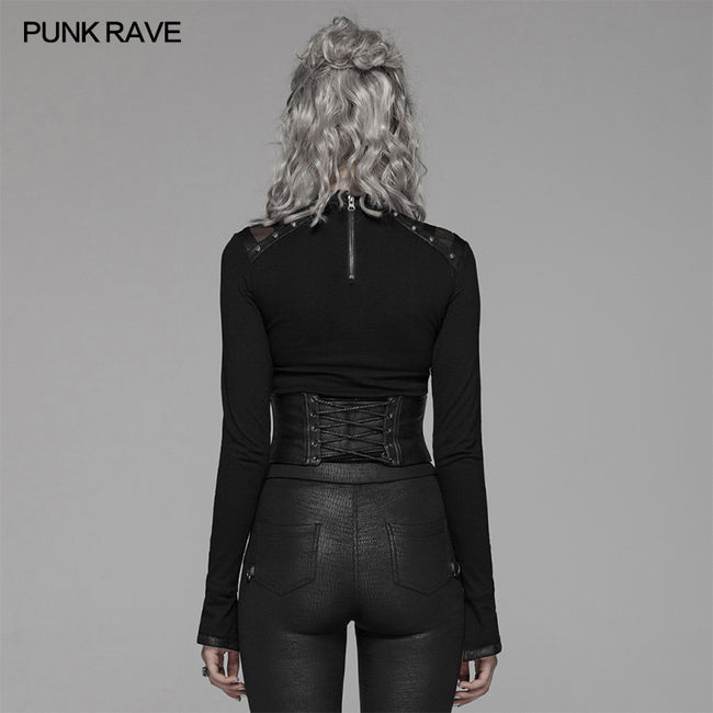 Punk Handsome Zipper Decoration Corset With Lace-up Back
