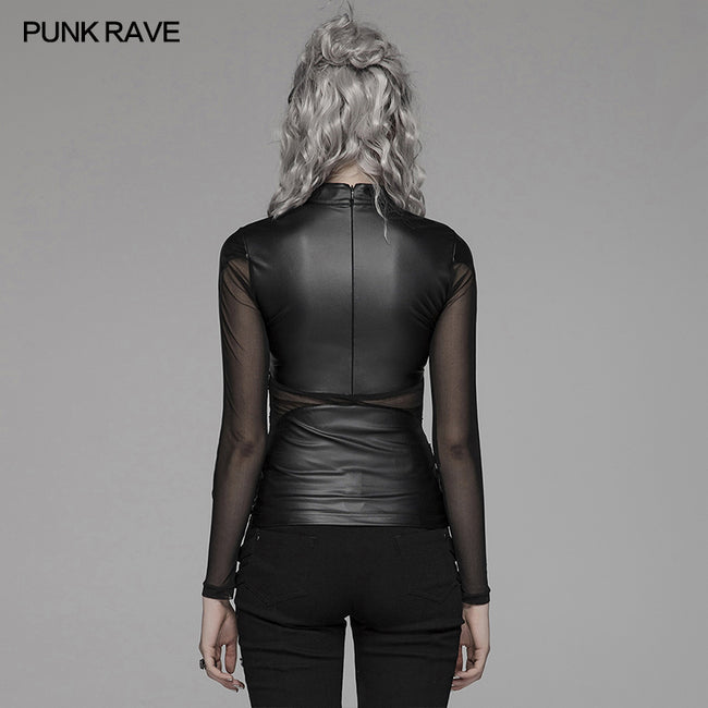 Punk Sexy PU Leather And Elastic Mesh Stitching Long Sleeve T-shirt For Women