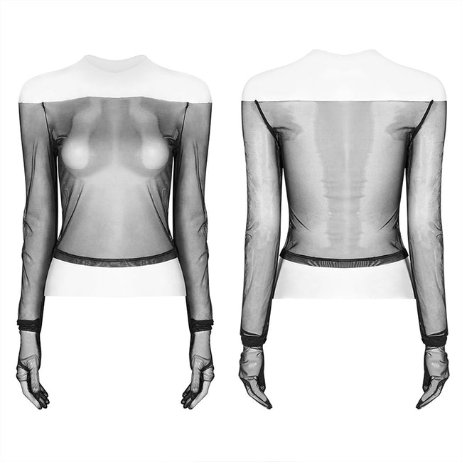 PUNK Off The Shoulder Elastic Transparent Mesh Long Sleeve T-shirt For Women