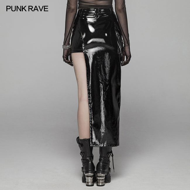 Punk Women Bright PU Asymmetric Skirt