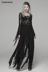 Gothic Elegant Asymmetric Lace Long Dress