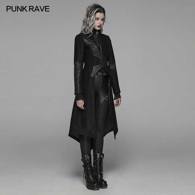 Punk Stand-up Collar Long Jacket With Lace-up Back
