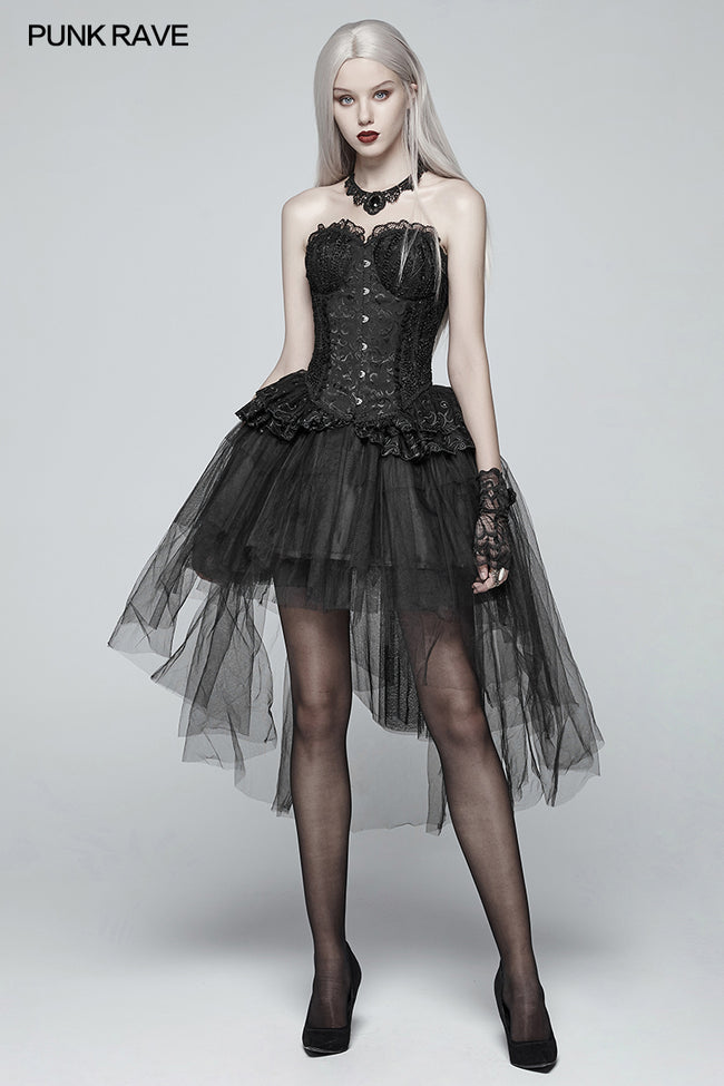 Gothic Basic Bustle High-low Tulle Skirt