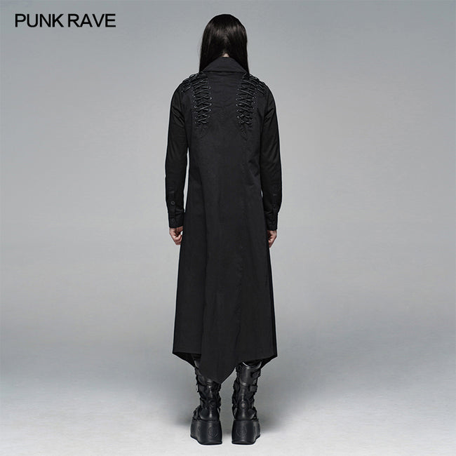 Dark Punk Micro-elastic Twill Long Shirt