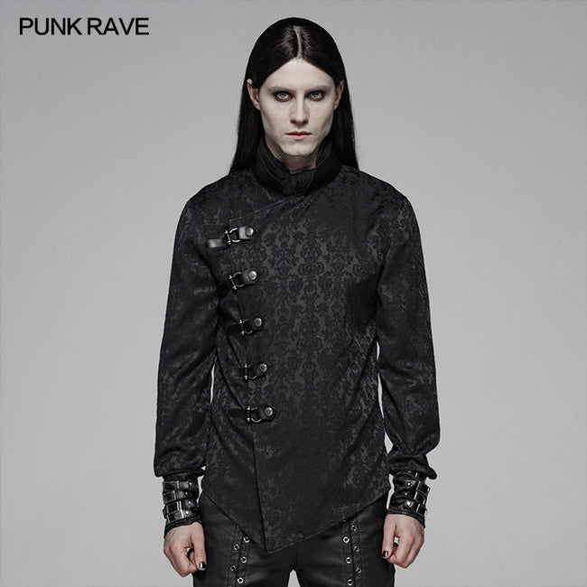 Punk Men Stand Collar Jacquard Fabric Long Sleeve Shirt With Oblique Placket Design