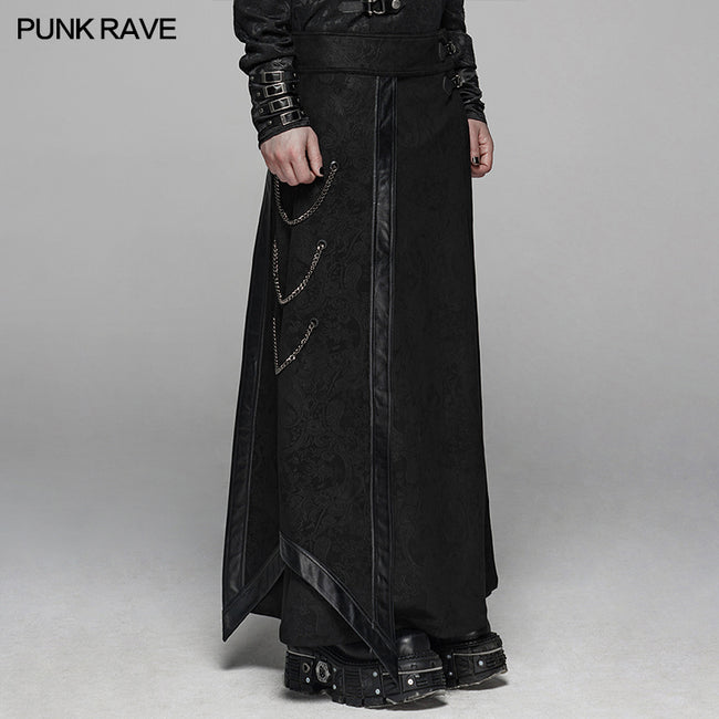 Gothic Floral Suede & Joint Leather Long Overskirt