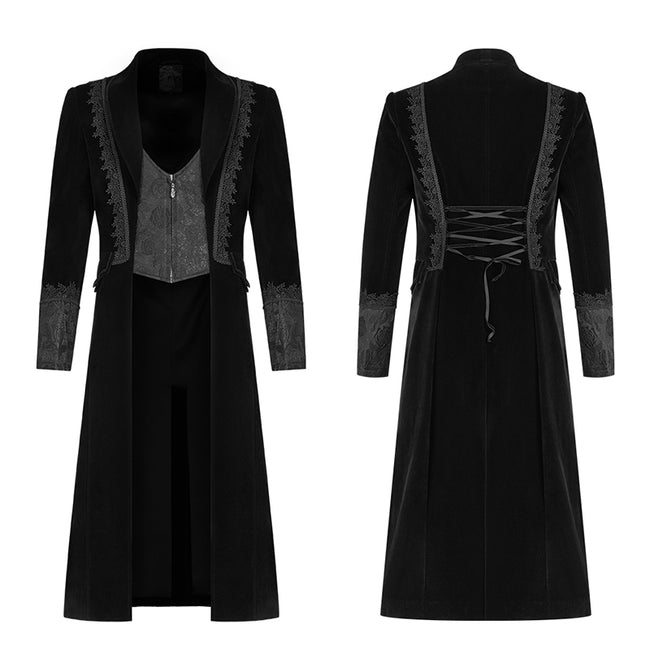 Gothic Men Velvet Medium Length Jacket