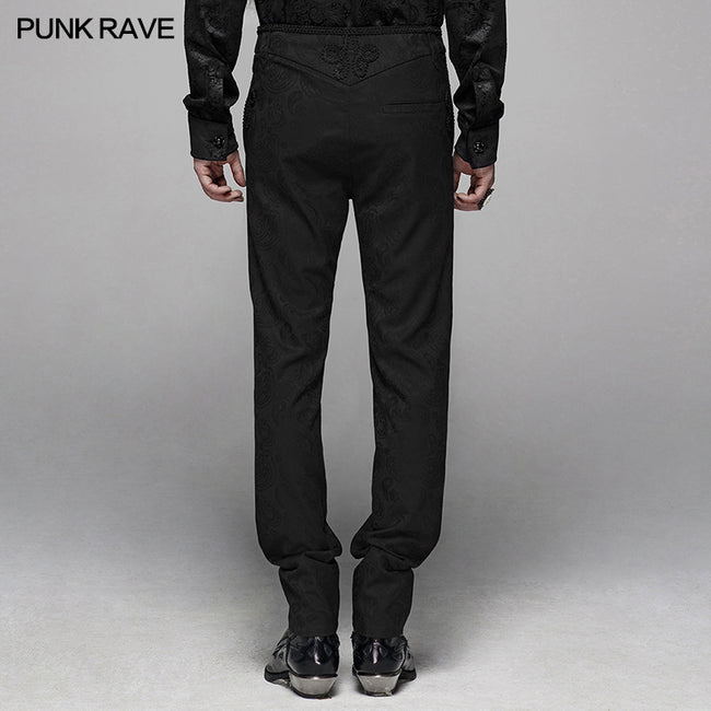 Gothic Floral Metal Swallow Black Suit Trousers