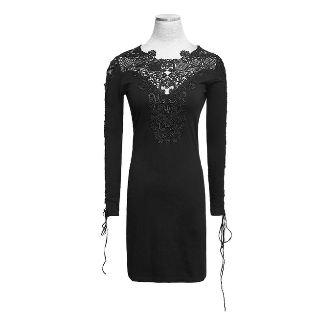New Vintage Beige Casual Black Gothic Dresses With Lace Collar