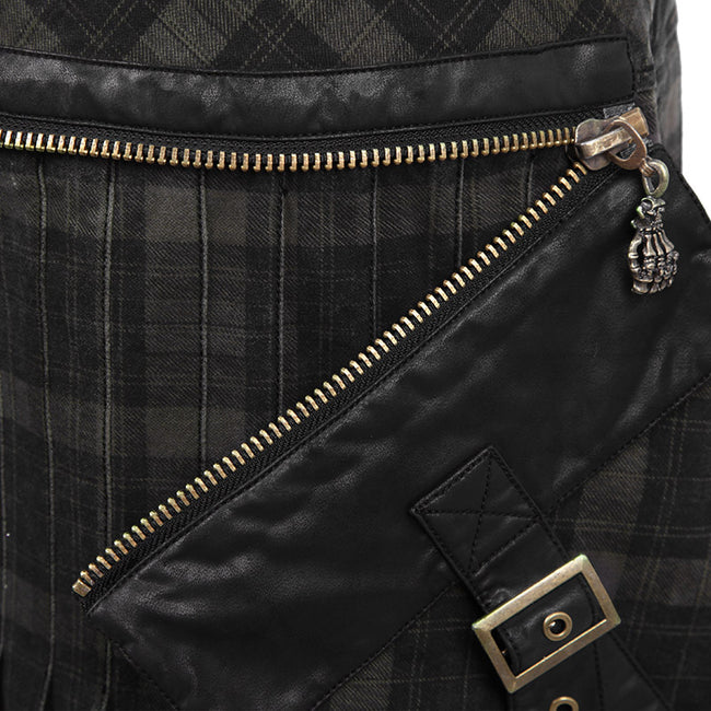 Gingham Man Above-the-knee Sheath Black Punk Skirt