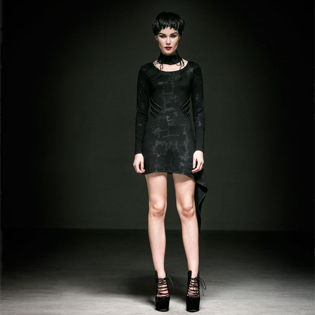 Black Cotton Lady Latest Irregular Party Gothic Dresses