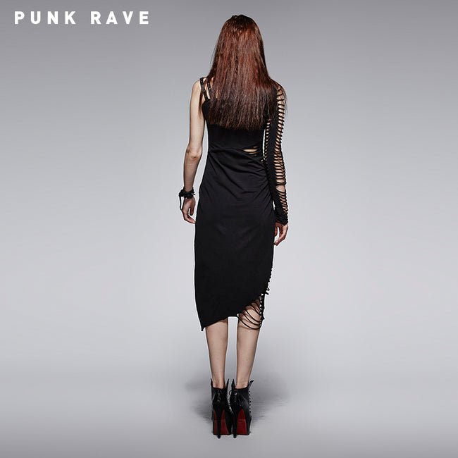 Black Sexy Single Shoulder Bandage Cocktail Punk Dress