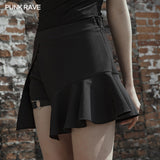 Black fake two-piece skirt