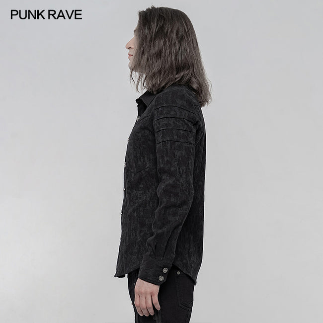 Elastic Jacquard Punk Long Sleeve Shirt