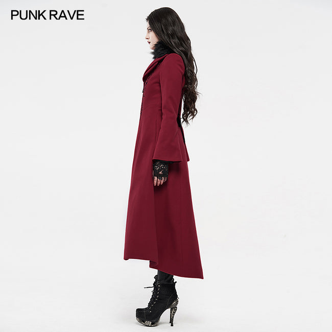 gothic embroidered wool long coat