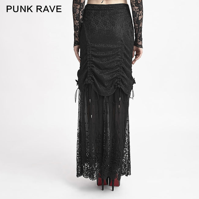 Winter Women Black Long Lace Fishtail Fashion Gothic Skirt