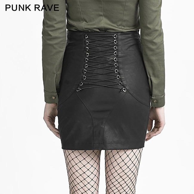 Black Skinny Simple High Waist Leather Fancy Punk Skirt