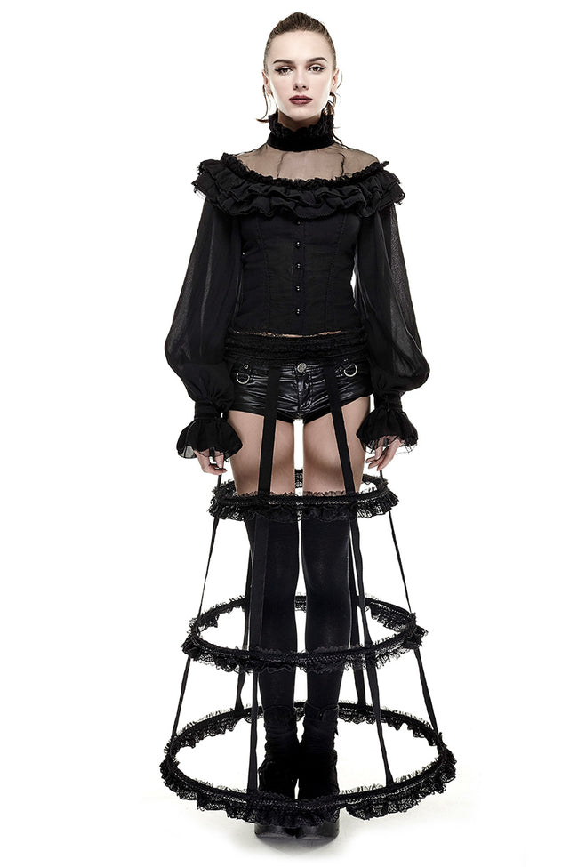 Lolita Style Adjustable Banked Lace Pattern Bustle Gothic Dresses
