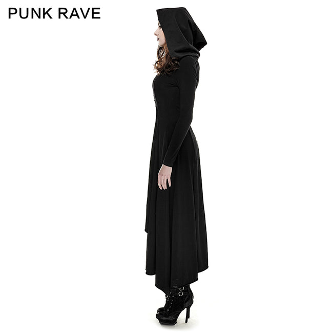 Black Knitted Slim Long Sleeve Hooded Evening Gothic Dresses