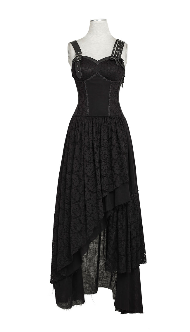 Black Elastic Mesh Stretchy Sexy Slit Long Prom Gown Evening Punk Dress