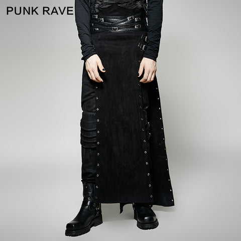 Black Wool Leather Spanking Split Punk Skirt