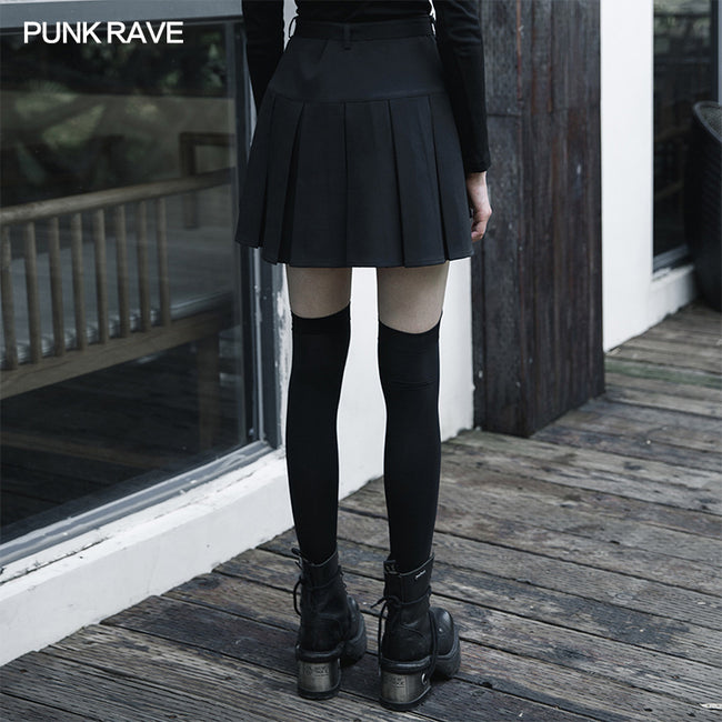 """Hardcore Girl"" series simplest short front and long back pleated skirt"