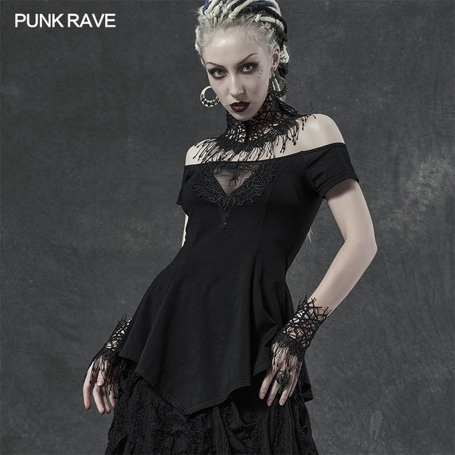 Goth dark night vine gloves neck cover Three-piece set